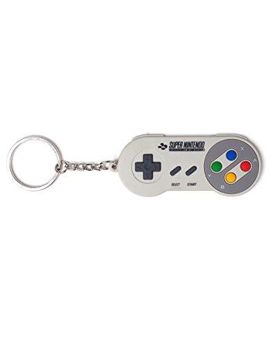 Nintendo Super Controller - Llavero de goma 3D, color gris,...