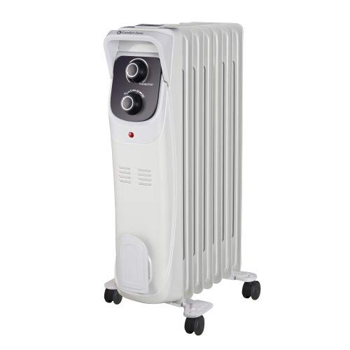 Comfort Zone CZ8008 Silent Electric Oil-Filled Radiator Heater with 360-Degree Swivel Casters, Gray Heater Oil Space