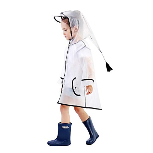 QTDH Regenjas, transparant, voor kinderen, uniseks, regenponcho met herbruikbare capuchon, waterdicht voor noodgevallen, voor studenten en infrarood op school