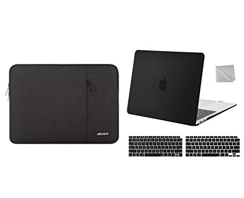 MOSISO Plastic Hard Shell Case & Laptop Sleeve Bag & Keyboard Cover Skin & Wipe Cloth Compatible with 2020 2019 2018 MacBook Air 13 inch A2337 M1 A2179 A1932, Black