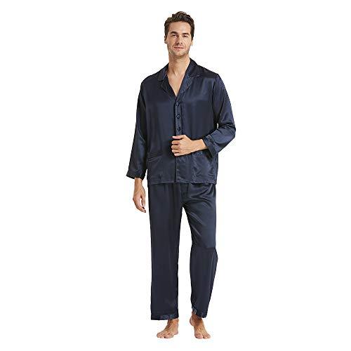LilySilk (リリーシルク) メンズ パジャマ 19匁シルク100% 長袖 静電気防止 敏感肌・乾燥肌にお勧め(上下セット) ギフトにも【ネビーブルー/M】