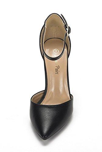 DREAM PAIRS Women's Coco Black Pu Mid Heel Pump Shoes – 7 M US