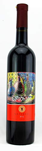 Georgischer Wein SAPERAVI, Wein der Langlebigen, rot trocken, aus authochtone Rebsorte, 0,75L, Georgien