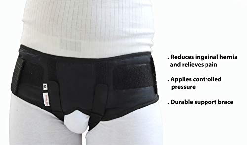 Wonder Care Inguinal Hernia Belt For Men Hernia Support Truss with Removable Pressure Pads Double Hernia Pain Relief Comfortable Brace Black (XXL)