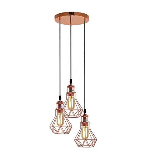 Lámpara de techo colgante de 3 cabezas, estilo vintage, estilo retro, color oro rosa