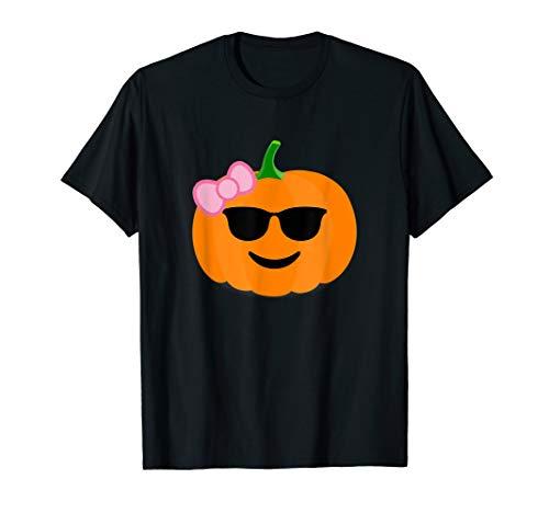 Kürbis Mädchen T-Shirt Shades Emoji-Halloween-Kostüm Tee
