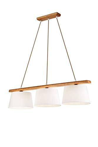 Wohnliche Hängelampe Wohnzimmer Esstisch Stoff Holz Braun Ecru 90cm lang E27 Pendelleuchte BEVERELY