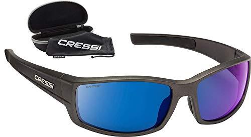 Cressi Unisex– Erwachsene Hunter Sunglasses Sport Sonnenbrille, Grau/Verspiegelte Linsen Blau, One Size