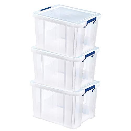 BANKERS BOX ProStore Aufbewahrungsbox mit Deckel 3 x 36 L aus Plastik (Innenmaße 30 x 37 x 31cm), 4 Stück, 7730802