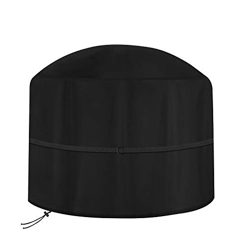 Dokon Large Fire Pit Cover, Waterproof, Windproof, Anti-UV, Heavy Duty Rip Proof 600D Oxford Fabric Outdoor Garden Patio Heater Cover, Round (Ø80 x 50cm) - Black