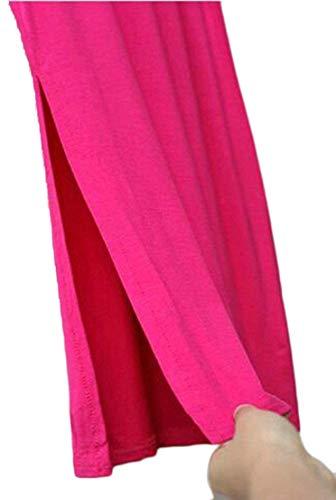 MJY Moda damskie z wysokim stanem letnie rozcięte solidne body długie spódnice, różowe czerwone, duże