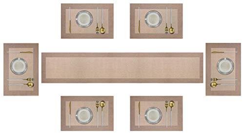 6er Platzdeckchen mit einem Tischläufer,Eageroo Rutschfest Abwaschbar Tischmatten aus PVC Abgrifffeste Hitzebeständig Tischsets Schmutzabweisend,Champagner (6er Platzsets + ein Tischläufer)
