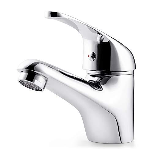 Amzdeal Waschtisch-Einhebelarmatur, Niedrige Auslaufhöhe Waschtischbatterie, Wasserhahn Bad, Waschbecken-Armatur, Verchromter Messingkörper/F-06
