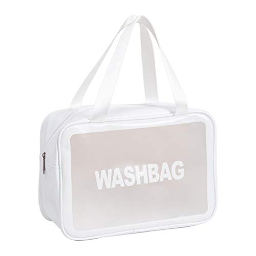 Froid Bolsa de cosméticos transparente, bolsa de maquillaje, bolsa de viaje, organizador de cosméticos para mujeres y niñas (rosa, L), White (Blanco) - LD66WTZCC0