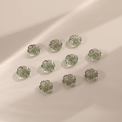 10pcs / paquete de diámetro 10 mm abalorios de vidrio coloreado material acrílico degradado flor encantadora bricolaje adecuado para pendientes collar abalorios-té verde, 10 piezas