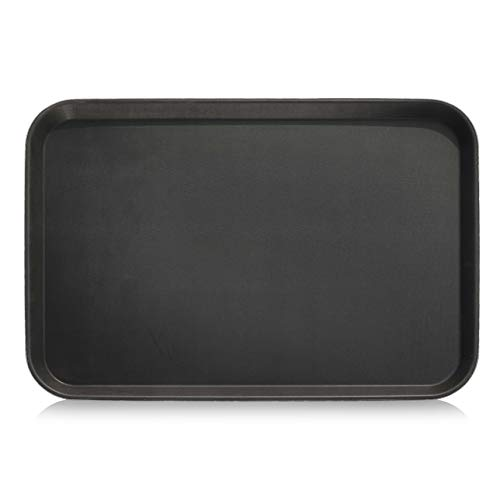 New Star Foodservice 25392 Non-Slip Tray, Plastic, Rubber Lined, Rectangular, 18 by 26-Inch (LARGE), Black