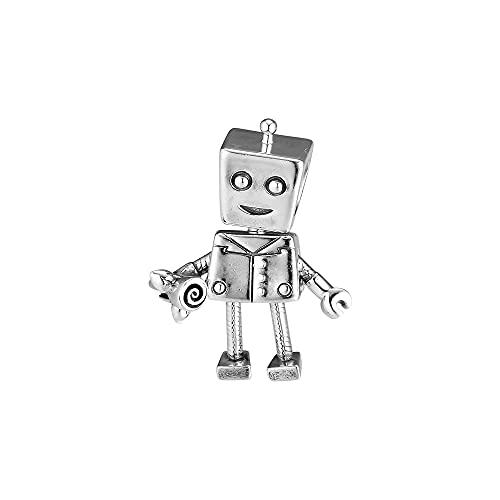 Auténtico Pandora S925 Colgante De Plata Esterlina Diy Rob Bot Charm Bead Fit Pulseras Originales Joyas Mujeres Hombres Cuentas Del Día De San Valentín Para La Fabricación De Joyas