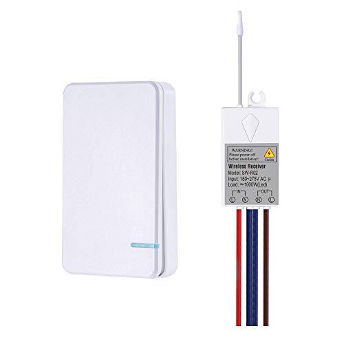 NineLeaf - Interruptor inalámbrico con mando a distancia, mini iluminación impermeable para lámpara interior/exterior 1000 W, botón radio portátil instalable