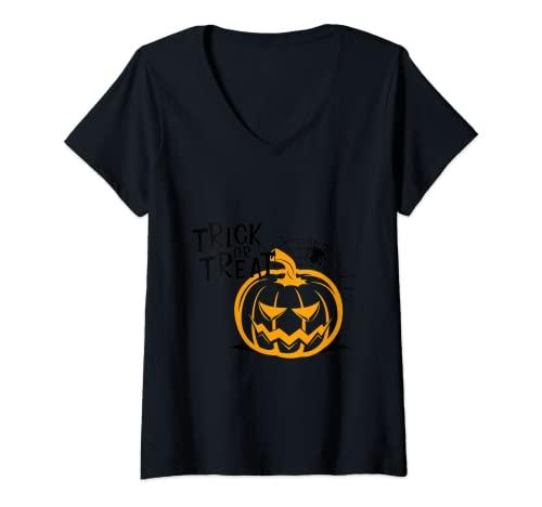 Mujer Feliz Halloween Camiseta Cuello V
