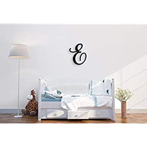 Giant Wall Decor Letters Uppercase E | 24″ Wood Paintable Script Capital Letters for Nursery, Home Décor, Wedding Guest Book and More by ROOM STARTERS (E 24″ Black 3/4″ Thick)