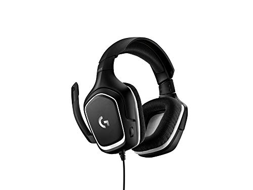 Logitech G332 Auriculares Gaming con Cable, Audio Estéreo, Transductores 50 mm, 3.5 mm Jack, Micrófono Volteable para Silenciar, Ligero, PC/Mac/Xbox One/PS4/Nintendo Switch, Negro/Blanco