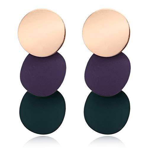 Forbestest Las Mujeres Elegantes Pendientes desiguales Redondas de Metal Brillante geométrica de aleación de Zinc Earstud Regalo de la joyería del oído de 3 Colores Barato Útil (Rojo Verde)