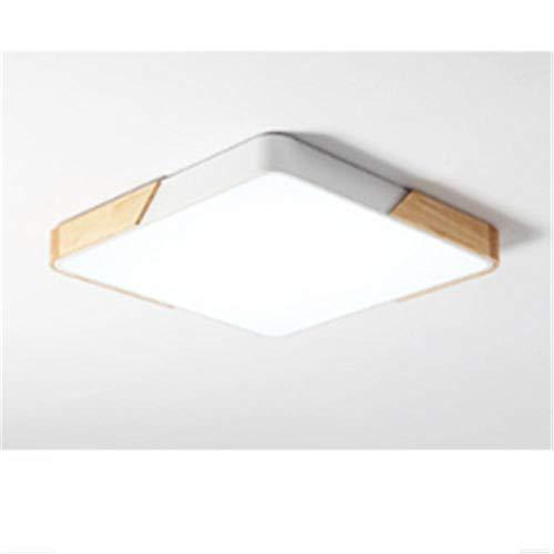 luz de techo-LED protección de los ojos marco de madera maciza luz blanca cuadrada 6000K-Rosa 40CM-24W,[Clase de eficiencia energética A].