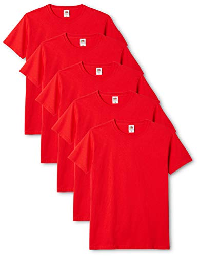 Fruit of the Loom Original T., T-Shirt Uomo, Rosso (Red 40), Large(Pacco da 5)