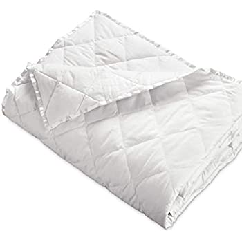 """DOWNLITE Hypoallergenic 230 TC Down Blankets with Satin Trim - Light Weight - Perfect for Summer - Available in White & Ivory - 94"""" x 104"""""""