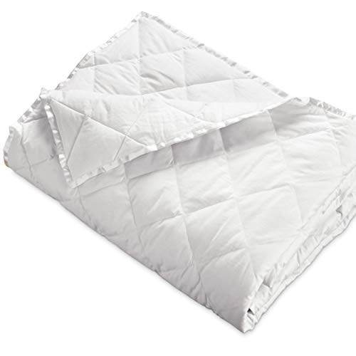 DOWNLITE Hypoallergenic 230 TC Down Blankets with Satin Trim - Light Weight - Perfect for Summer - Available in White & Ivory - 94' x 104'
