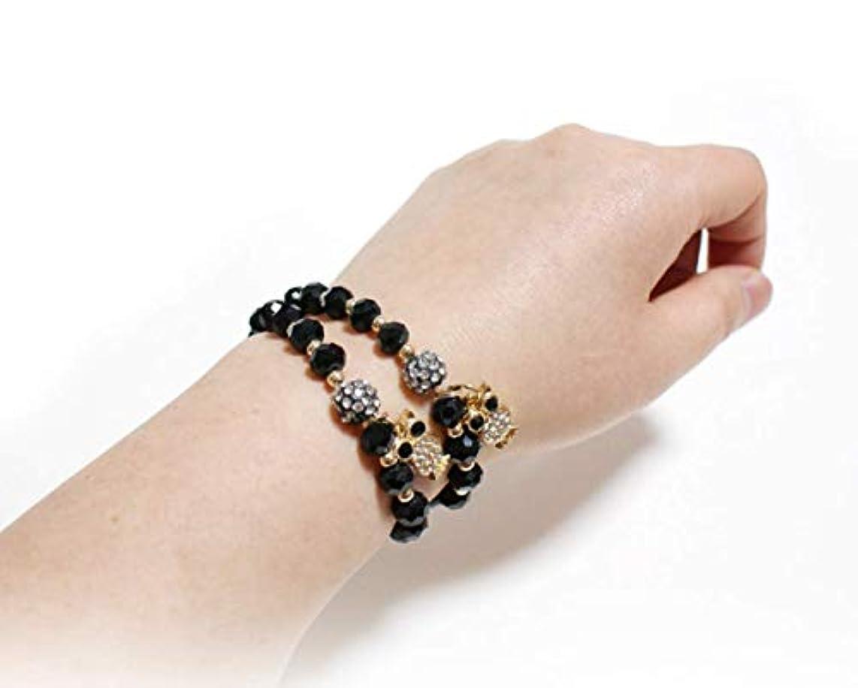Dream Store Owl Pendant Crystal 8mm Beads Elastic Healing Sparkling Bracelet for Girl & Women