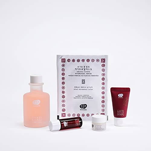 Whamisa Feuchtigkeitsbooster Set | Ideal gegen trockene Haut | Pflege-Öl, Reinigungs-Creme, Toner, Beauty-Gesichtsmaske, Tiefen-Pflegecreme | Korean Skin Care Extra...