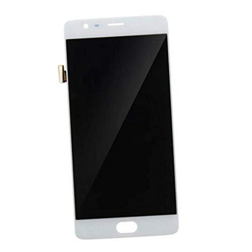 1 Juego de reemplazos de pantalla LCD, ensamblaje del marco del digitalizador táctil de la pantalla + herramienta de reparación compatible con One Plus 1+ OnePlus 3T, negro - blanco