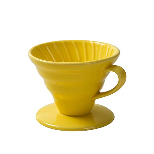 Airmoon Coffee Dripper, Ceramic Pour Over Coffee Maker, Reusable Coffee Filter Cup, Slow Brewing Accessories for Home, Cafe, Restaurants (Yellow, Size 01)