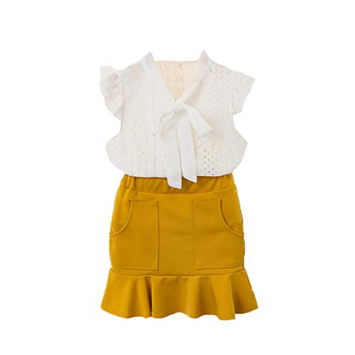 RYTEJFES Kleider Mädchen Rüschen Ärmellos Dresstells Spitzenkleid Lace Sweet Festzug Kleid Eisprinzessin Set Kommunionkleid 2-Teiliges
