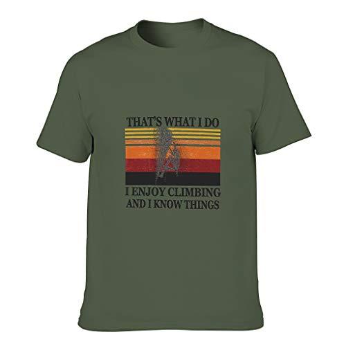 Camiseta de algodón para hombre, disfruta de la escalada, el conocimiento de las cosas geniales, individualidad moderna, parte superior con estampado. verde militar M