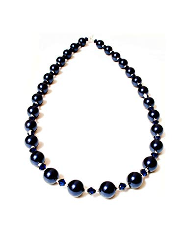 Dent Designs 18' Sterling Silver & Midnight Navy Blue Swarovski Pearls and Dark Indigo Handmade Necklace