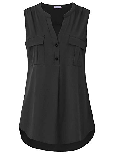 Bulotus Sleeveless Chiffon Blouses for Women Office Tank Tops for Work, Black, XX-Large