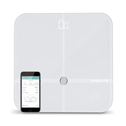 IKOHS BALANCE BODY SMART - Báscula de baño de bioimpedancia con App, Bluetooth, Android/IOS, Sensores, Display Led, Diseño Ligero y Plano, Cristal Templado, Biometría de hasta 24 usuarios (Blanco)