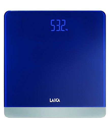 Báscula de baño digital LAICA PS1057 color azul oscuro, diseño elegante, en vidrio y metal, peso máximo 180 Kg