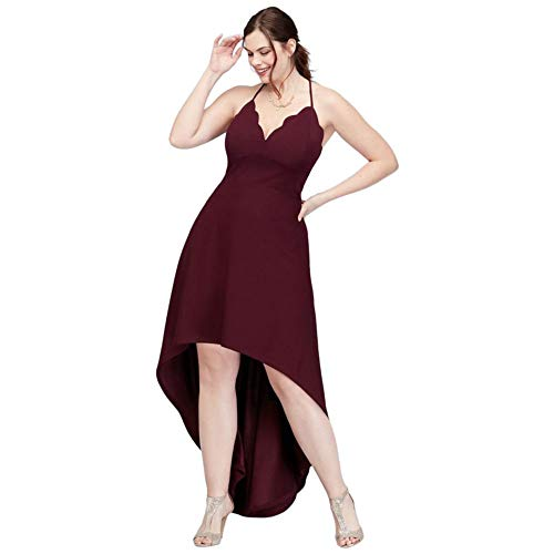 David's Bridal Scalloped Plus Size High-Low Spaghetti Strap Dress Style CW39811DNE, Wine, 20