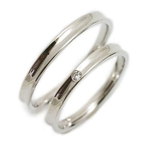 [ココカル]cococaru ペアリング 2本セット K18 ホワイトゴールド マリッジリング 結婚指輪 ダイヤモンド 日本製(レディースサイズ13号 メンズサイズ3号)
