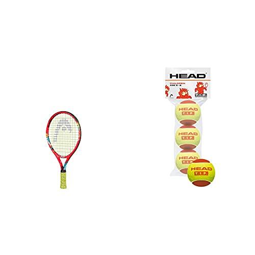 Head Novak 17 Raqueta De Tenis, Juventud Unisex, Multicolor, 2-3 Años + Pro-3 Ball Tip, Color Red, Unisex-Youth, Talla Única