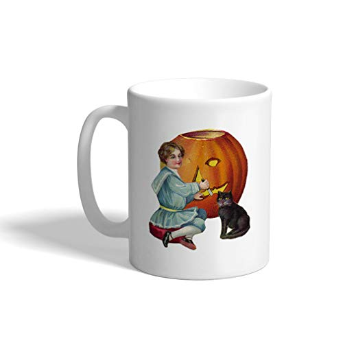 Ceramic Coffee Mug 11 Ounces Halloween Pumpkin Carving Holidays and Occasions White Tea Cup Design Only