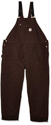Carhartt Men's Loose Fit Washed Duck Insulated Bib Overall, Dark Brown, Large
