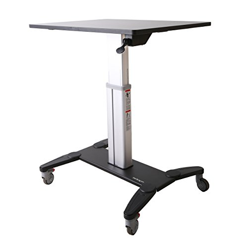 StarTech.com Mobile Standing Desk - Portable Sit Stand Ergonomic Height Adjustable Cart on Wheels - Rolling Computer/Laptop Workstation Table with Locking One-Touch Lift for Teacher/Student (STSCART)