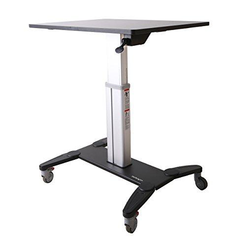 StarTech.com Sit Stand Mobile Workstation - Rolling Desk - One-Touch Height Adjustment with Lock - Standing Desk Converter - Mobile Desk (STSCART)