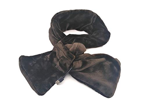USB Electric Heating Scarf Heated Wraps Pad for Female Girls Neck Cervical Vertebra Warmers (Brown)
