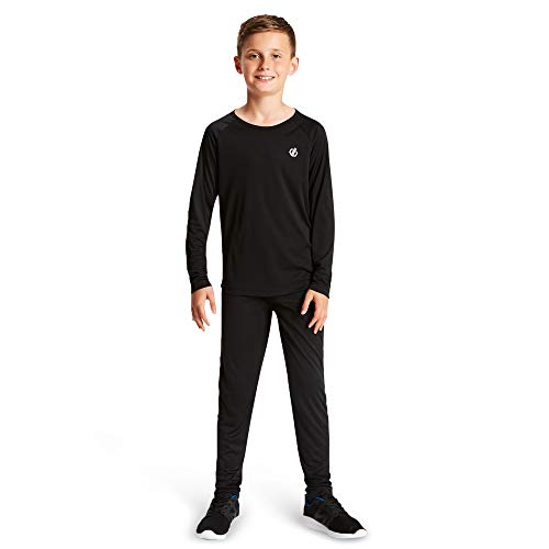 Dare 2b Kinder Elate Lightweight Fast Wicking & Quick Drying Performance Ski & Snowboard Active Outdoor Base Layer Set with Anti-Bacterial Odour Control Treatment Funktionsunterwäsche, Schwarz, 3-4
