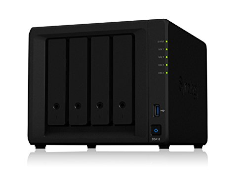 Synology DS418 Powerful 4-bay NAS for Home and Office Users, Realtek Quad-core 1.40 GHz, 4 x HDD Supported, 40 TB Supported HDD...